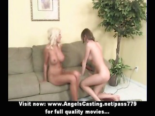 blonde milf and cute lesbian lover toying and