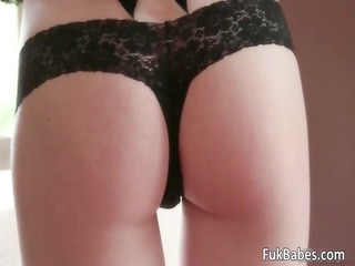 sexy redhead chick in hawt black lingerie part5