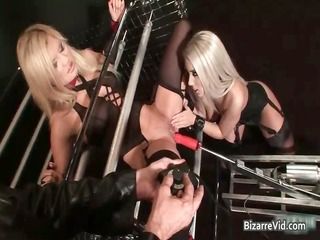 sexy blonde sweethearts using a machine to fuck