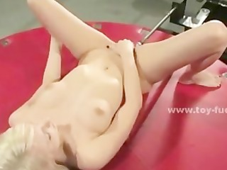 blond babe fingers then masturbates with dildo