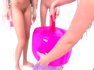 sexy young teens hit shower after gym and use toy
