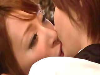 japanese girls kiss every other and then acquire